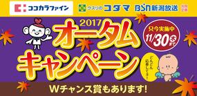 ココカラファイン・クスリのコダマ・BSN 2017オータムキャンペーン