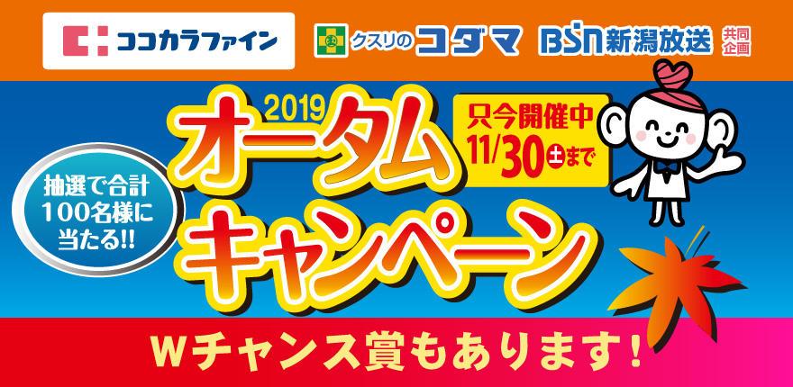 ココカラファイン・クスリのコダマ・BSN 2019オータムキャンペーン